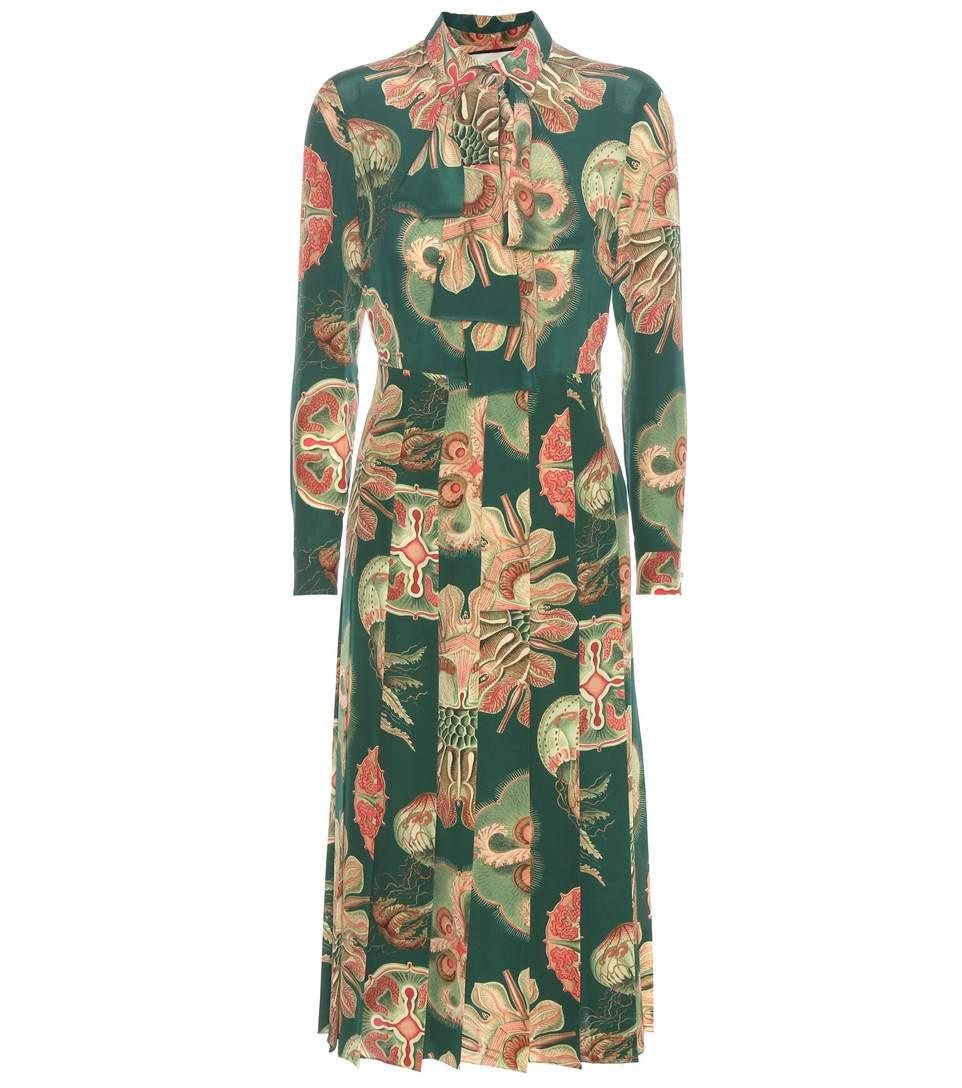 ef11ad29e Gucci Pleated Printed Silk Crepe De Chine Midi Dress In Lr Greee ...