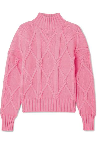 d4dbac2952 Tucker Cable-Knit Cotton-Blend Sweater in Pink