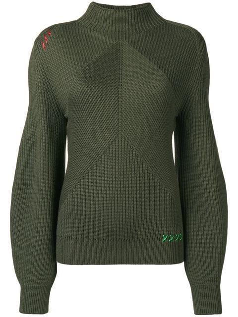 Carven Structured Knit Sweater In Green