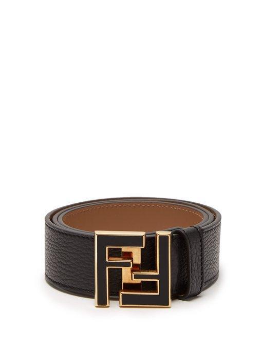 66e67f03 Fendi - Ff Logo Buckle Leather Belt - Mens - Black Gold
