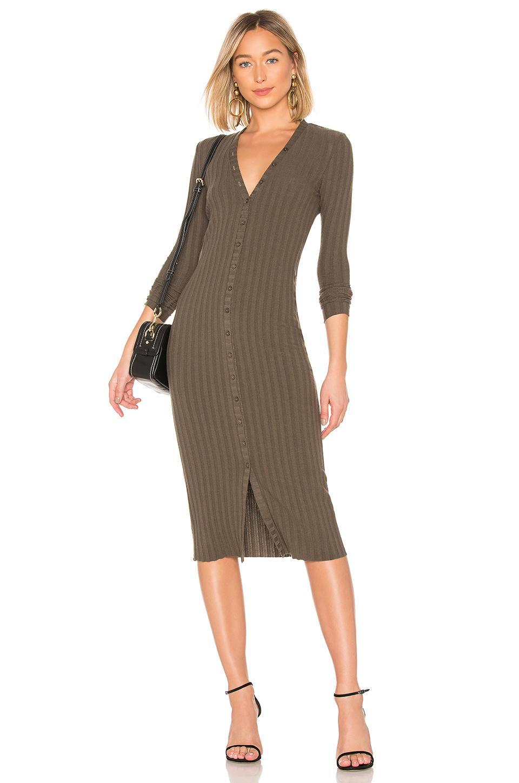 Enza Costa Rib Long Sleeve V Cardigan Midi Dress In Olive Drab