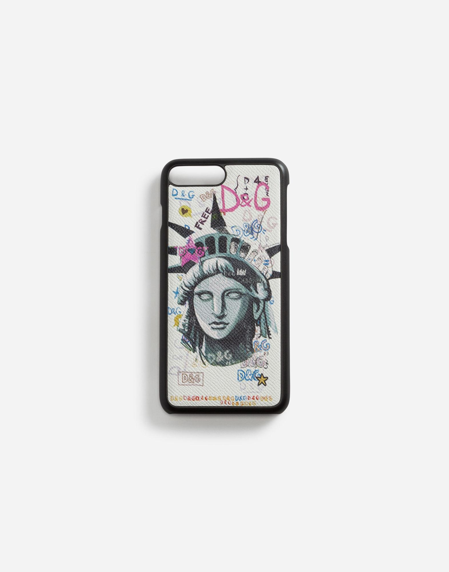 Dolce & Gabbana Iphone 7 Plus Cover In Printed Dauphine Calfskin In Multi-colored