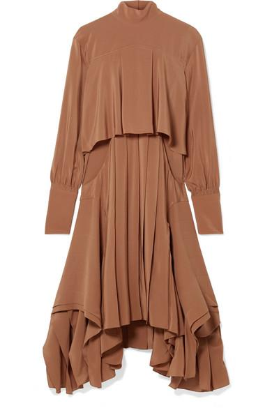 ChloÉ Asymmetric Pleated Silk Crepe De Chine Turtleneck Dress In Brown