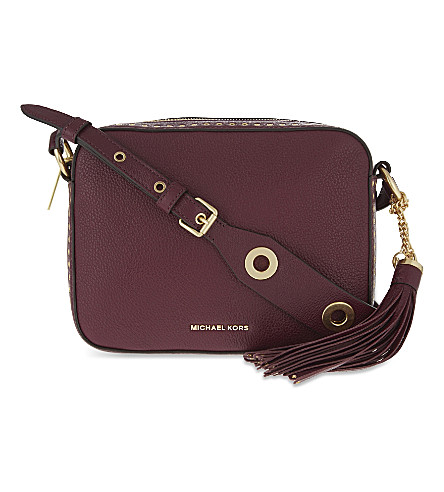bb12df7410ea Michael Michael Kors Brooklyn Large Leather Camera Bag In Plum ...