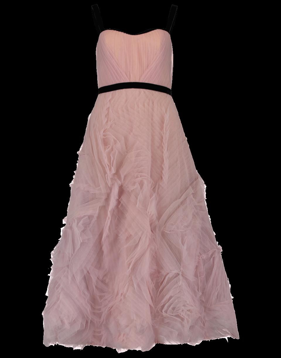 Marchesa Notte Tea Length Velvet Trim Gown In Lilac