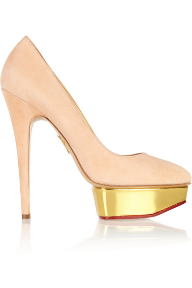 Charlotte Olympia Dolly Signature Court Island Suede Pumps In Blush In Pink