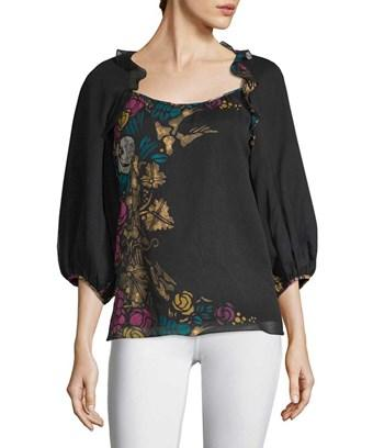Nanette Lepore Printed Silk Blouse In Nocolor