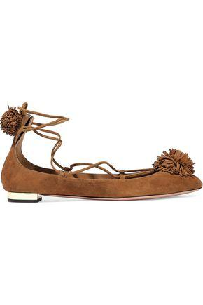 Aquazzura Woman Sunshine Pompom-Embellished Nubuck Ballet Flats Light Brown