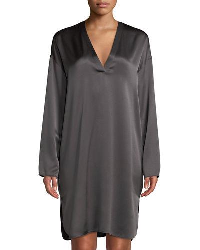 Vince Long-sleeve V-neck Silk Tunic In Gray