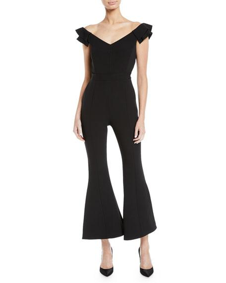 52a79793dbbea Camilla And Marc Elita Flutter-Sleeve Wide-Leg Jumpsuit In Black ...