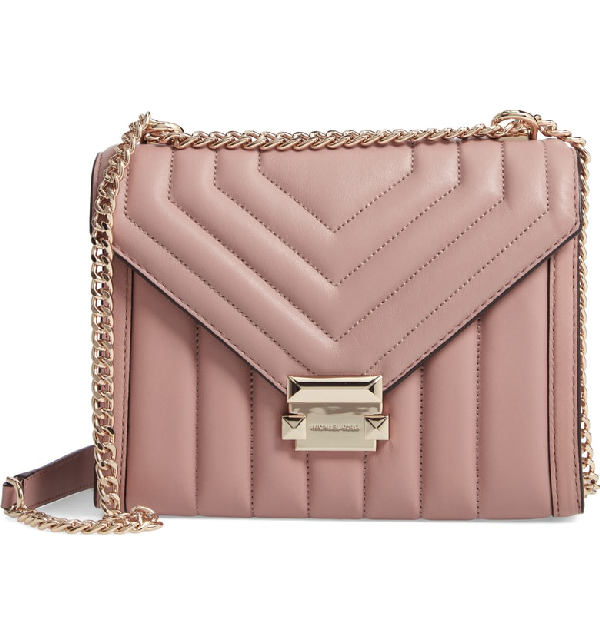 b7a54946175228 Michael Michael Kors Whitney Large Quilted Leather Shoulder Bag In Fawn