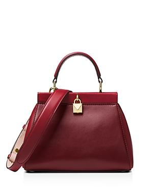 29b8d46cfbb4 Michael Michael Kors Gramercy Frame Small Leather Satchel In Maroon Gold