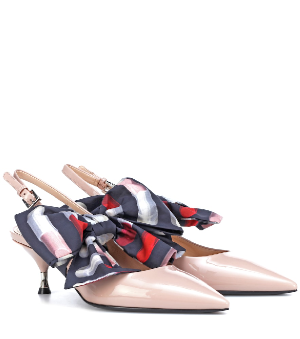 20e471ad8 Prada Bow-Detailed Patent-Leather Slingback Pumps In Pink | ModeSens