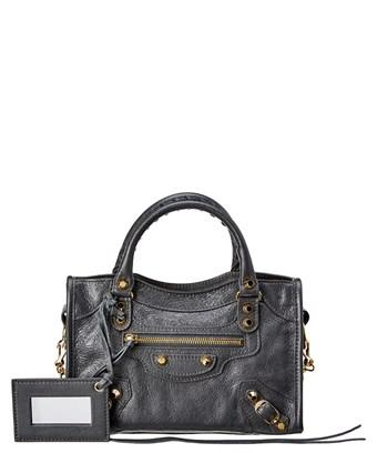 Balenciaga Classic Gold Mini City Leather Shoulder Bag In Grey