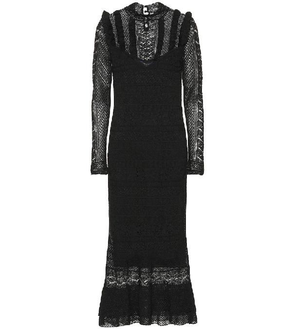 a2dc3687eb Pointelle-Stitched Midi Dress in Black