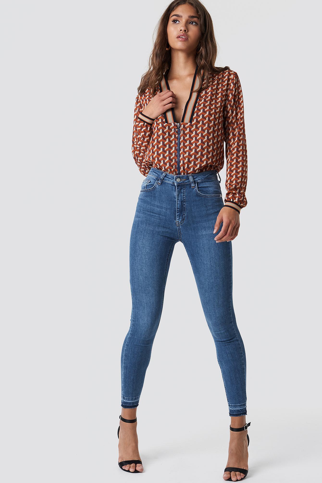 6668b8037b1a Na-Kd Skinny High Waist Open Hem Jeans - Blue
