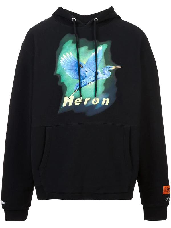 7b7f0905e834 Heron Preston Heron-Print Hooded Sweatshirt In Black