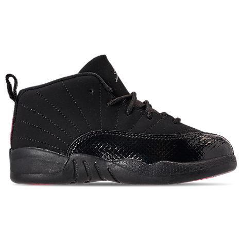 best service 154fa 911c4 Girls' Toddler Air Jordan Retro 12 Basketball Shoes, Black