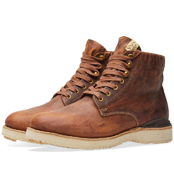 Visvim Virgil Distressed Leather Boots In Brown