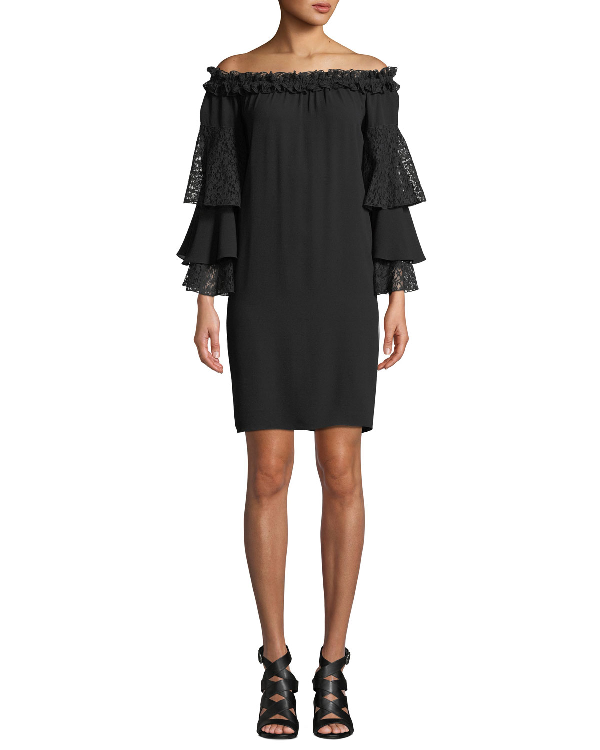 Michael Kors Off-The-Shoulder Silk Shift Dress With Ruffled Lace Sleeves In Black