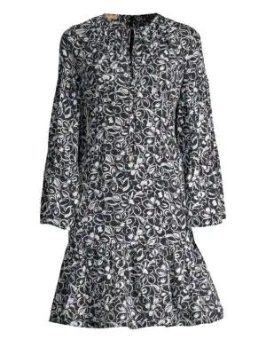 Michael Kors Silk Peasant Dress In Multi