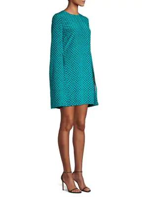 Michael Kors Polka Dot Cape Dress In Turquoise