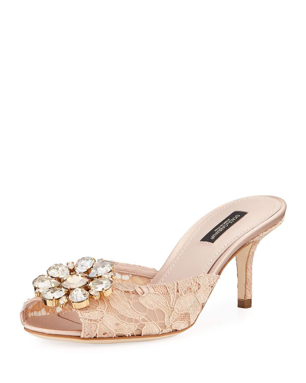 1d90d7d60640b Dolce   Gabbana Keria Jeweled Lace Low-Heel Slide Sandals