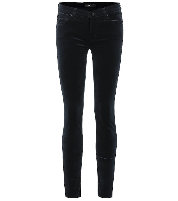 7 For All Mankind The Ankle Skinny Jeans In Velvet In Blue