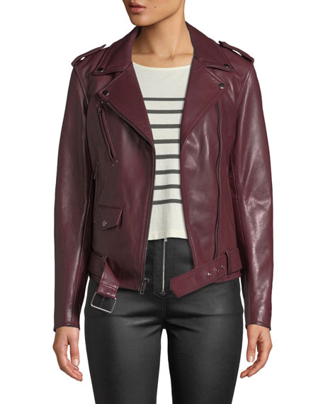 7 For All Mankind Zip-Front Leather Biker Jacket In Red