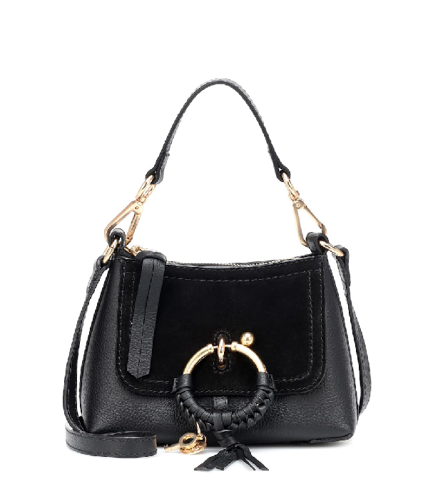See By ChloÉ Joan Mini Suede-paneled Textured-leather Shoulder Bag In Black