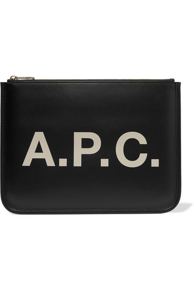 A.p.c. Morgane Printed Faux Leather Pouch In Black