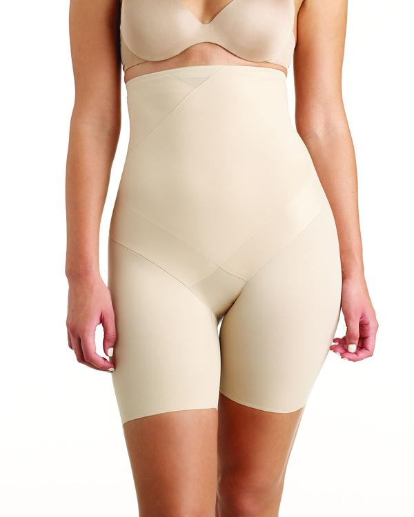 Fine Lines Tummy Tux High-waist Thigh Slimmer Shorts In Black
