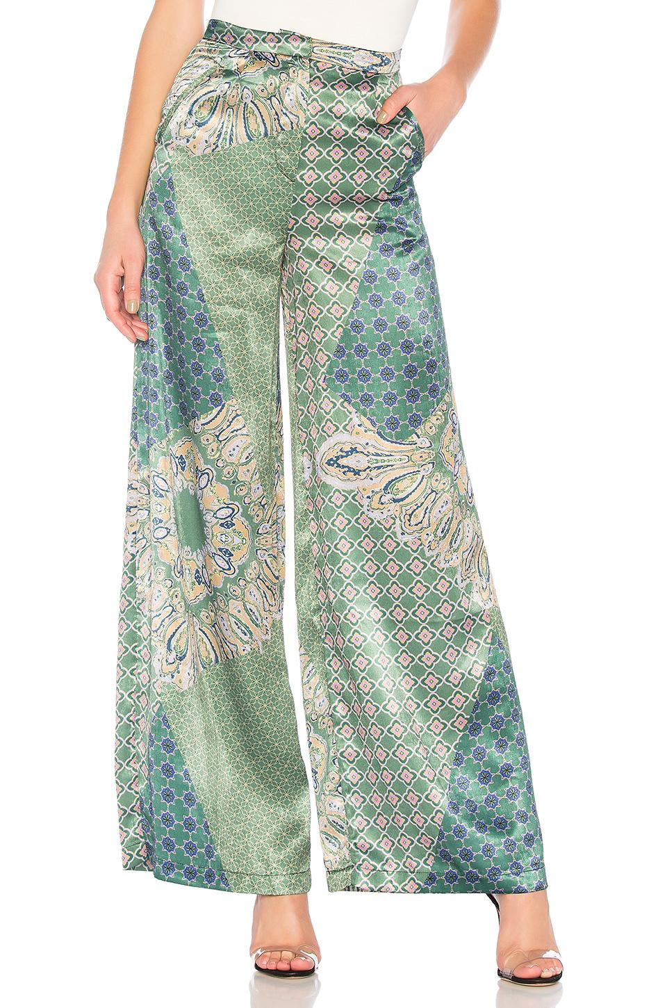 House Of Harlow 1960 X Revolve Des Pant In Moss Green Patchwork