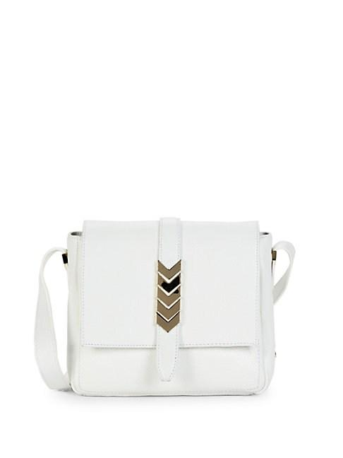 Versace Leather Shoulder Bag In White