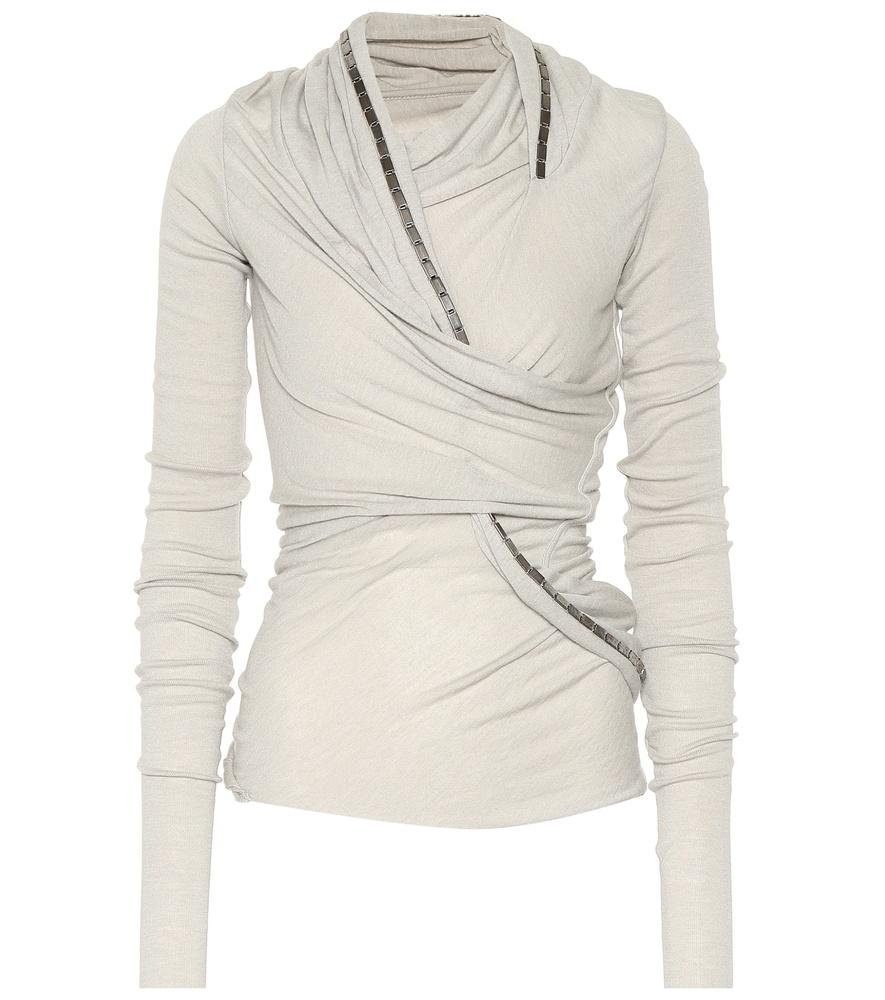 Rick Owens Lilies Embellished Knit Top In Grey