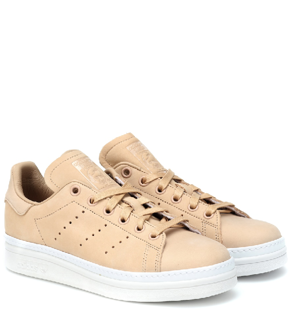Adidas Originals Stan Smith New Bold Leather Sneakers In Beige