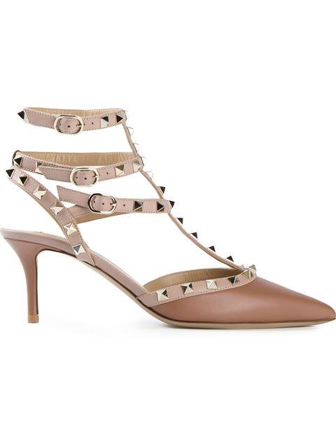 Valentino Garavani Rockstud Ankle Strap In Light Brown