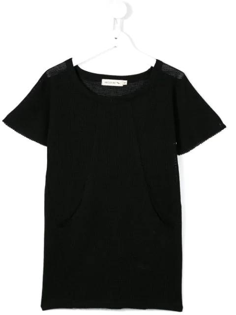 Andorine Kids' Mesh Style Double Pocket Dress In Black