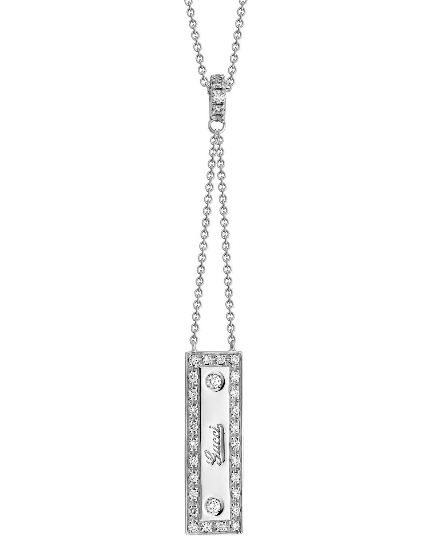 1682a7a2173 Estate 18K White Gold Diamond Logo Pendant Necklace