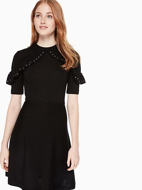 22553247d4d Kate Spade So Foxy Ruffle Studded Sweater Dress In Black