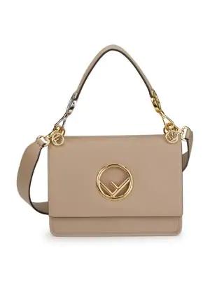 Fendi Kan I F Leather Shoulder Bag In Dove Soft