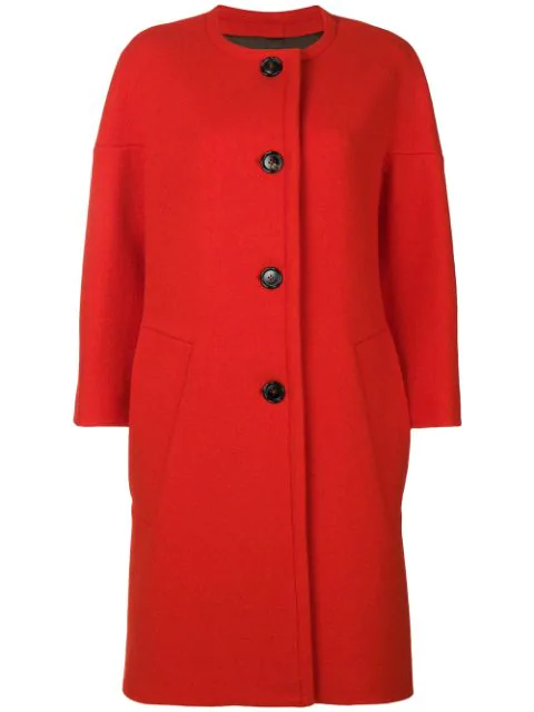 Marni Round Neck Coat In Red