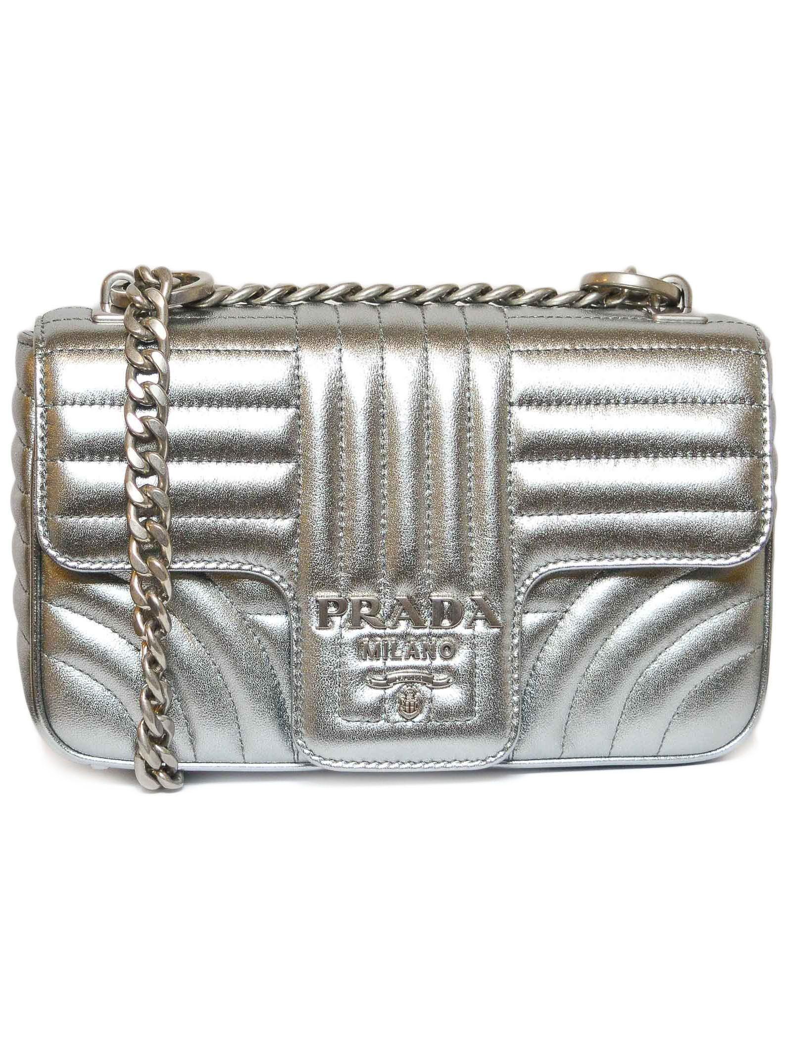 e610def47fcc Prada Matelassé Shoulder Bag In Silver | ModeSens