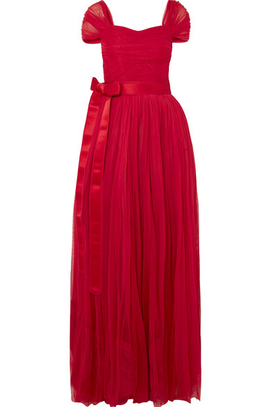 Dolce & Gabbana Belted Silk-chiffon Gown In Red