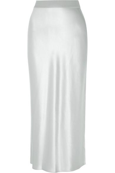 Theory Satin Maxi Skirt In Silver