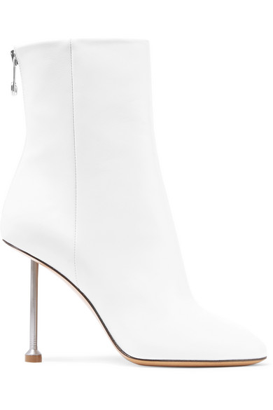 Maison Margiela Leather Ankle Boots In White