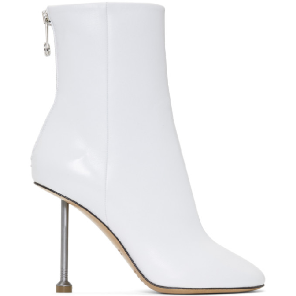 Maison Margiela Leather Ankle Boots In T1003 White