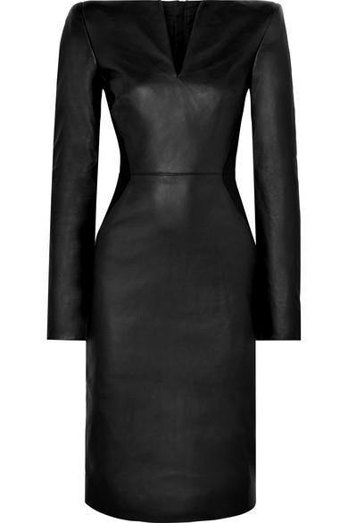 4cc708720c Gareth Pugh Leather And Stretch-Knit Midi Dress In Black