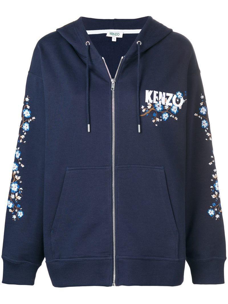 7cfabfaf2 Kenzo Cheongsam Flower Zip-Up Hoodie In Blue | ModeSens