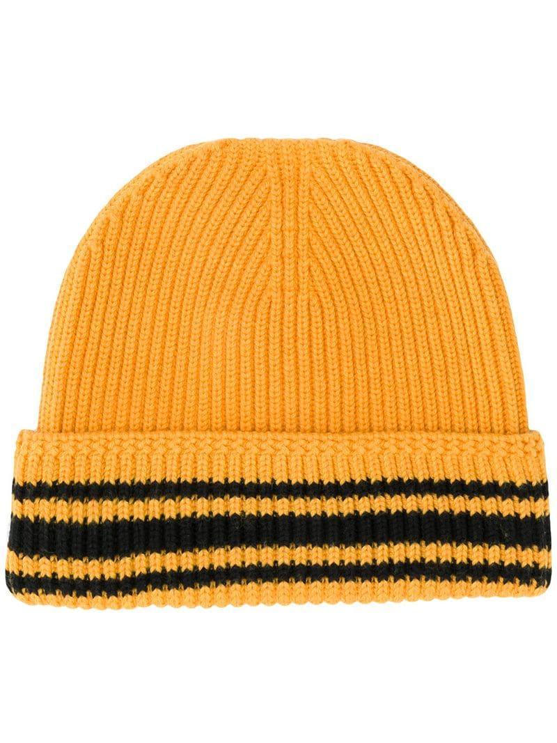 393b222be6d Maison Margiela Striped Rib Knit Beanie - Orange